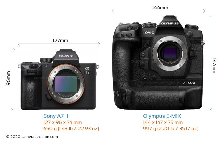 Sony A7 III vs Olympus E-M1X Camera Size Comparison - Front View