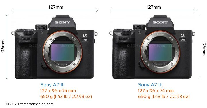 Sony A7 III vs Sony A7 III Camera Size Comparison - Front View