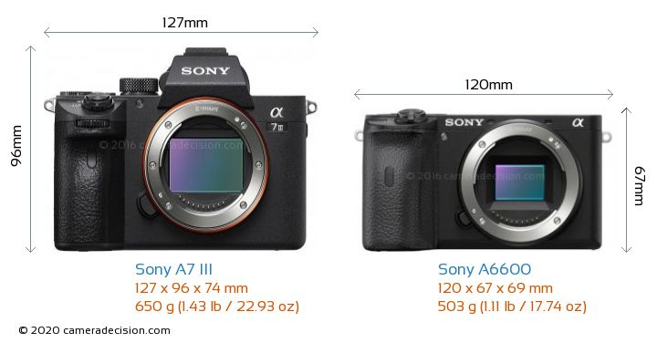 Sony A7 III vs Sony A6600 Camera Size Comparison - Front View