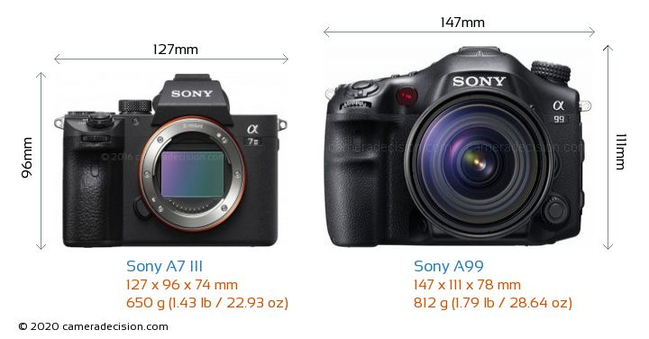 Sony A7 III vs Sony A99 Camera Size Comparison - Front View
