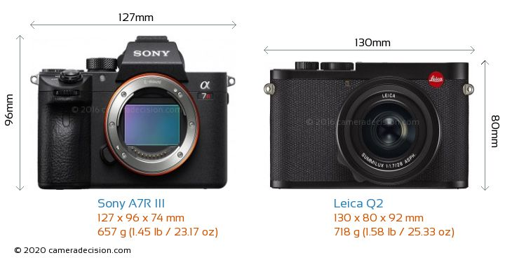 Sony A7R III vs Leica Q2 Camera Size Comparison - Front View