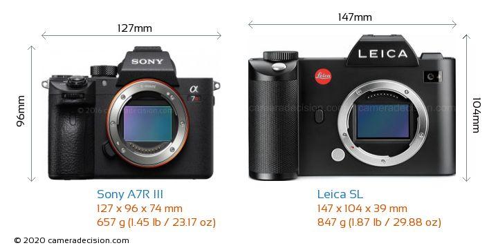 Sony A7R III vs Leica SL Camera Size Comparison - Front View