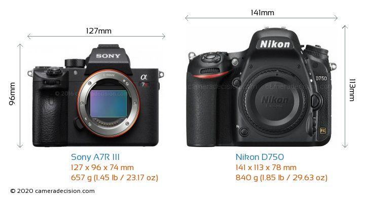 Sony A7R III vs Nikon D750 Camera Size Comparison - Front View