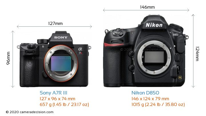 Sony A7R III vs Nikon D850 Camera Size Comparison - Front View