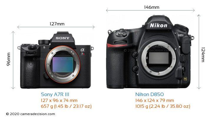 Sony A7R III vs Nikon D850 Camera Size Comparison - Front View