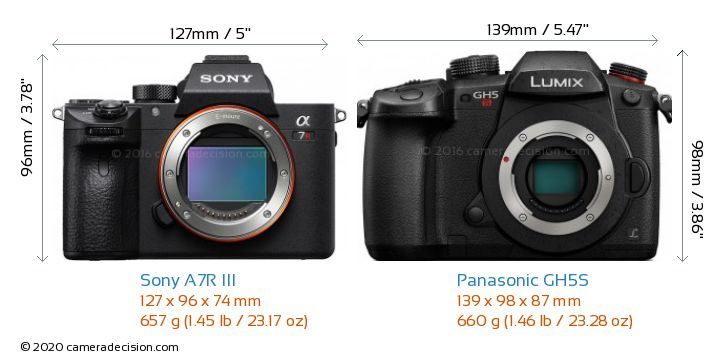 Sony A7R III vs Panasonic GH5S Camera Size Comparison - Front View