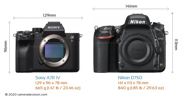 Sony A7R IV vs Nikon D750 Camera Size Comparison - Front View
