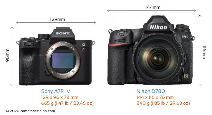 Sony A7R IV vs Nikon D780 Camera Size Comparison - Front View