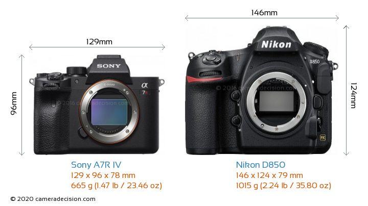 Sony A7R IV vs Nikon D850 Camera Size Comparison - Front View
