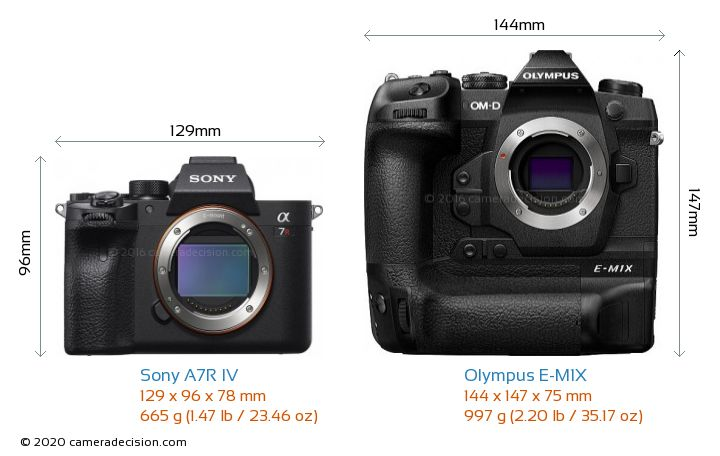 Sony A7R IV vs Olympus E-M1X Camera Size Comparison - Front View