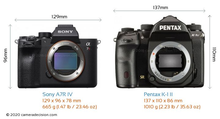 Sony A7R IV vs Pentax K-1 II Camera Size Comparison - Front View