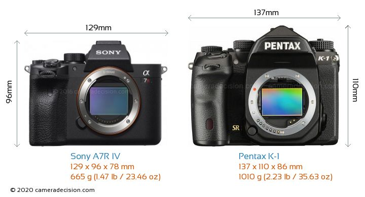 Sony A7R IV vs Pentax K-1 Camera Size Comparison - Front View