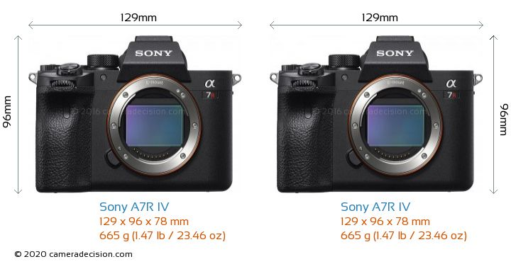 Sony A7R IV vs Sony A7R IV Camera Size Comparison - Front View