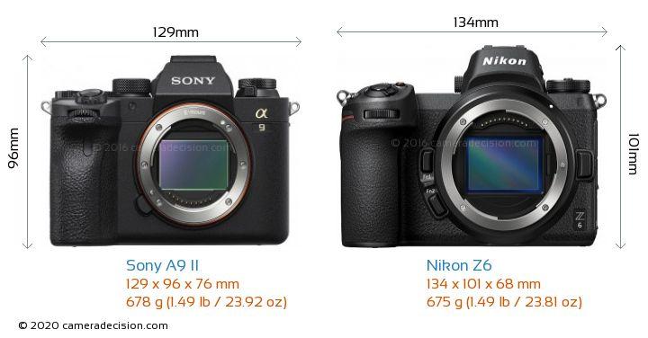 Sony A9 II vs Nikon Z6 Camera Size Comparison - Front View