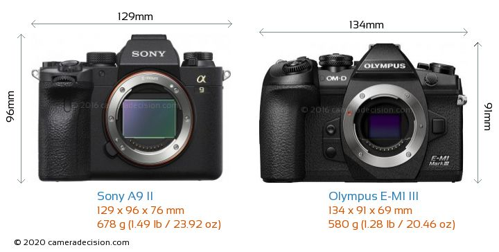 Sony A9 II vs Olympus E-M1 MIII Camera Size Comparison - Front View