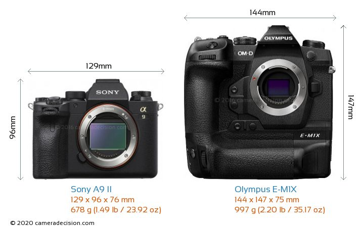 Sony A9 II vs Olympus E-M1X Camera Size Comparison - Front View