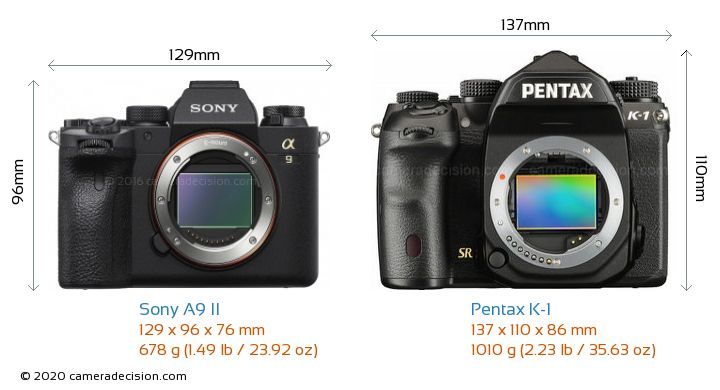 Sony A9 II vs Pentax K-1 Camera Size Comparison - Front View