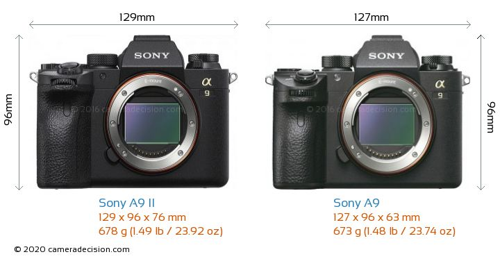Sony A9 II vs Sony A9 Camera Size Comparison - Front View