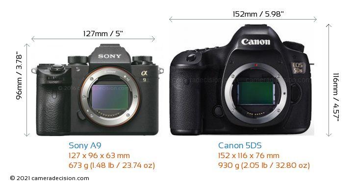 Sony A9 vs Canon 5DS Camera Size Comparison - Front View