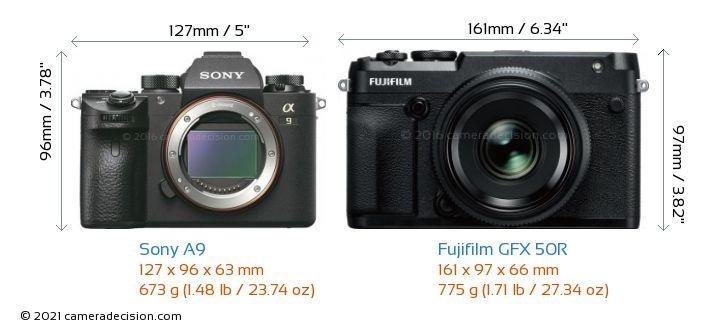 Sony A9 vs Fujifilm GFX 50R Camera Size Comparison - Front View
