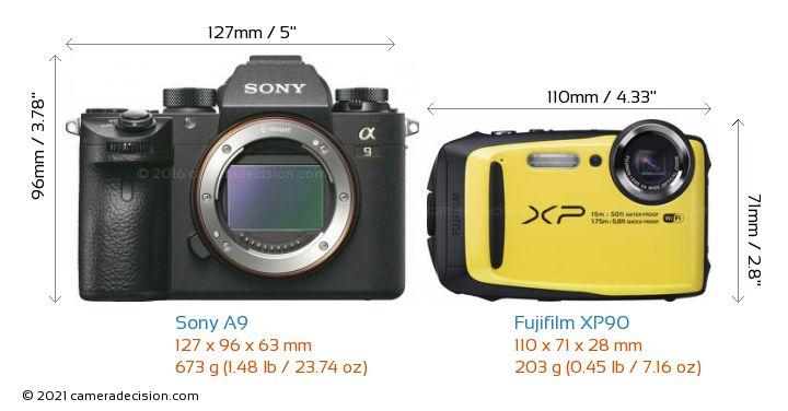 Sony A9 vs Fujifilm XP90 Camera Size Comparison - Front View