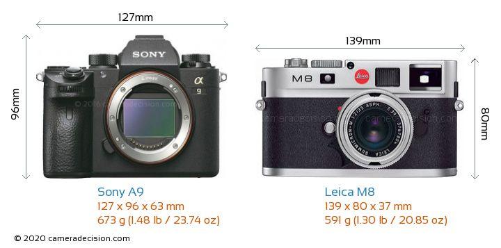 Sony A9 vs Leica M8 Camera Size Comparison - Front View