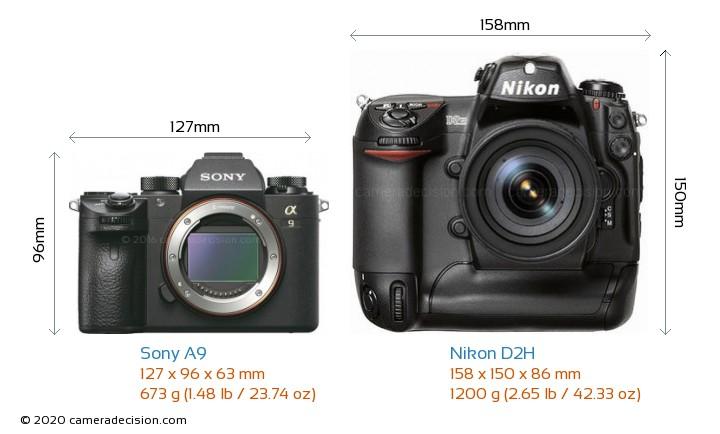 Sony A9 vs Nikon D2H Camera Size Comparison - Front View