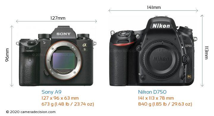Sony A9 vs Nikon D750 Camera Size Comparison - Front View