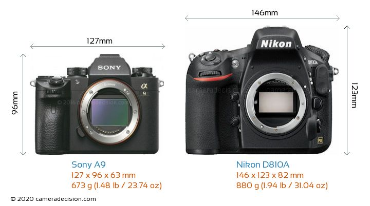 Sony A9 vs Nikon D810A Camera Size Comparison - Front View