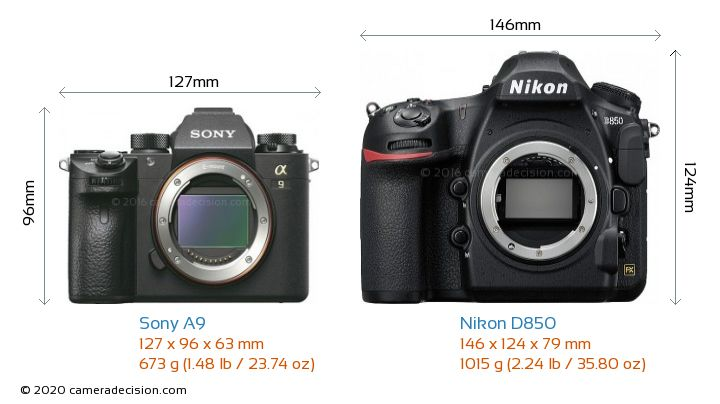 Sony A9 vs Nikon D850 Camera Size Comparison - Front View