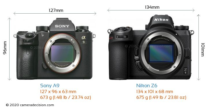 Sony A9 vs Nikon Z6 Camera Size Comparison - Front View