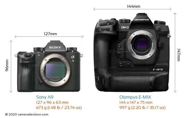Sony A9 vs Olympus E-M1X Camera Size Comparison - Front View