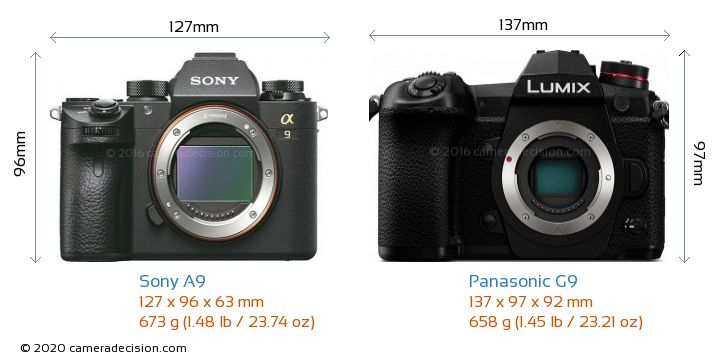 Sony A9 vs Panasonic G9 Camera Size Comparison - Front View