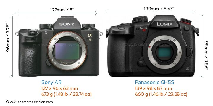 Sony A9 vs Panasonic GH5S Camera Size Comparison - Front View