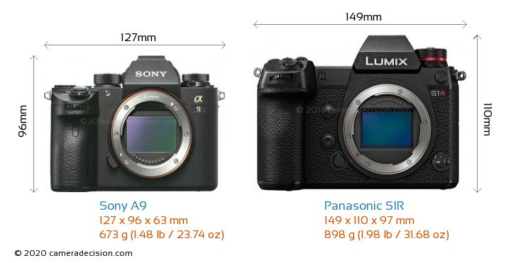 Sony A9 vs Panasonic S1R Camera Size Comparison - Front View