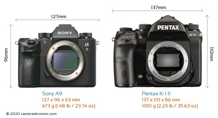 Sony A9 vs Pentax K-1 II Camera Size Comparison - Front View