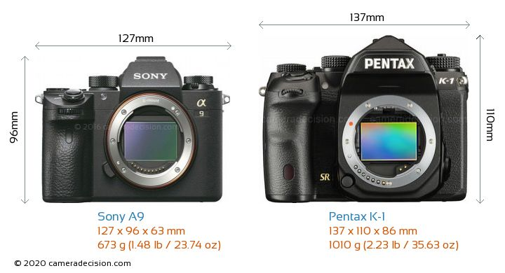Sony A9 vs Pentax K-1 Camera Size Comparison - Front View
