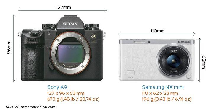 Sony A9 vs Samsung NX mini Camera Size Comparison - Front View