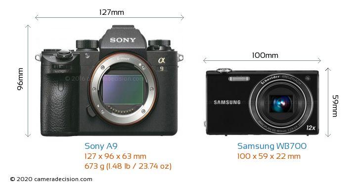 Sony A9 vs Samsung WB700 Camera Size Comparison - Front View
