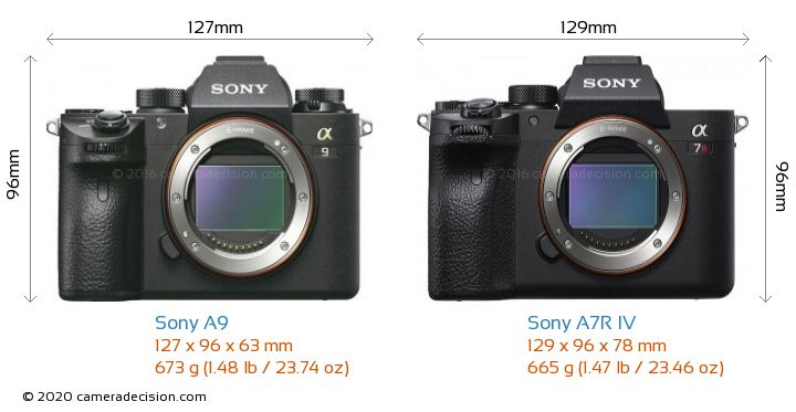 Sony A9 vs Sony A7R IV Camera Size Comparison - Front View