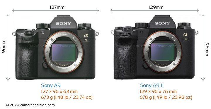 Sony A9 vs Sony A9 II Camera Size Comparison - Front View