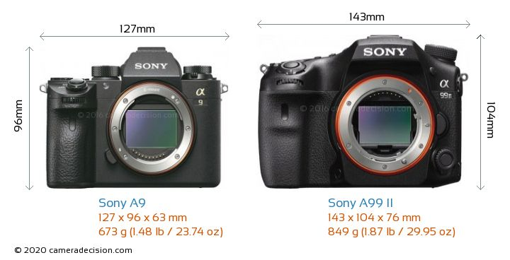 Sony A9 vs Sony A99 II Camera Size Comparison - Front View