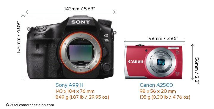 Sony A99 II vs Canon A2500 Camera Size Comparison - Front View