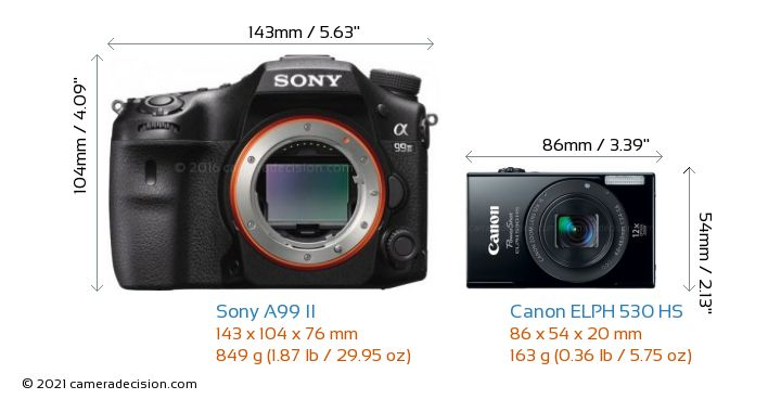 Sony A99 II vs Canon ELPH 530 HS Camera Size Comparison - Front View