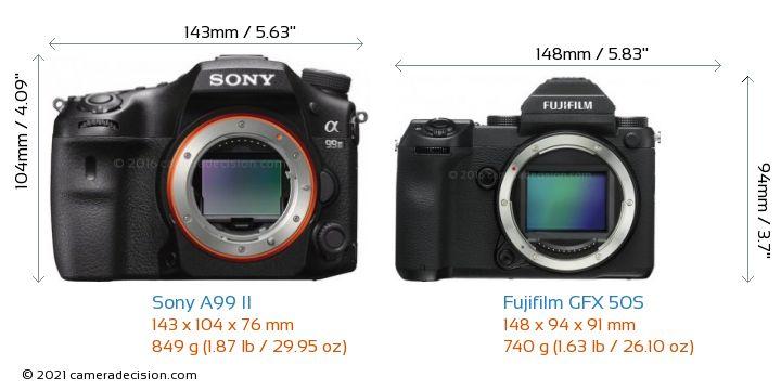 Sony A99 II vs Fujifilm GFX 50S Camera Size Comparison - Front View