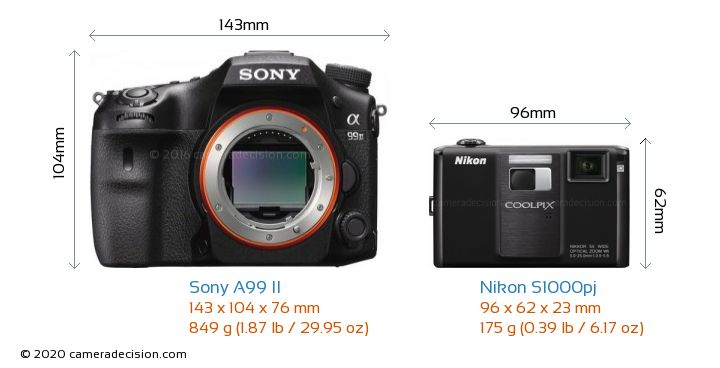 Sony A99 II vs Nikon S1000pj Camera Size Comparison - Front View