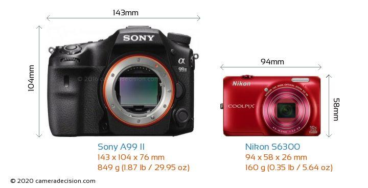 Sony A99 II vs Nikon S6300 Camera Size Comparison - Front View