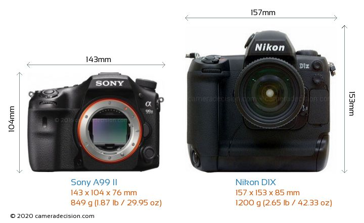 Sony A99 II vs Nikon D1X Camera Size Comparison - Front View