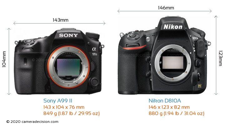 Sony A99 II vs Nikon D810A Camera Size Comparison - Front View