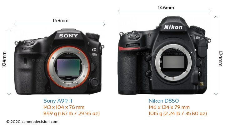 Sony A99 II vs Nikon D850 Camera Size Comparison - Front View